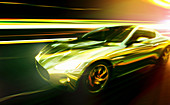 Luxury sports car moving at speed, illustration