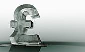 Melting frozen British pound sign, illustration