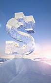 Frozen dollar sign on top of mountain, illustration