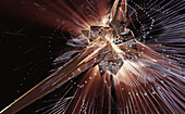 Complex abstract of exploding and mesh, illustration