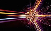 Abstract futuristic exploding star shape, illustration