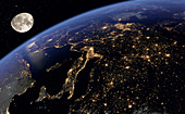 Europe at night from space, illustration