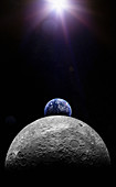 The sun shining on the earth and the moon, illustration