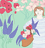 Woman in garden with basket of flowers, illustration