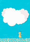 Woman holding cloud balloons on string, illustration