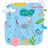 Multitasking women climbing ladders, illustration