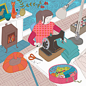 Young woman using sewing machine, illustration