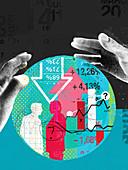 Hands around finance data inside of ball, illustration