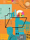 Businessmen, globe, financial data and folder, illustration