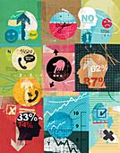 Market research questionnaire surveys, illustration