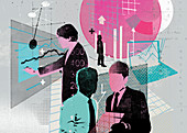 Collage of businessmen analyzing business data, illustration