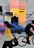 Urban transport and people on the move, illustration