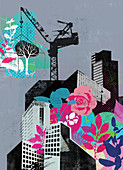 Crane building city with plants and flowers, illustration