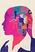 Businesswoman with head full of ideas, illustration