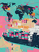 Global trade collage, illustration
