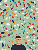 Anxious man surrounded by lots of pills, illustration
