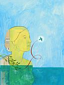 Serene woman watching bird fly away, illustration