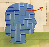 Woman solving maze puzzle inside of head, illustration