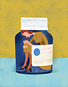 Unhappy woman trapped inside of pill bottle, illustration