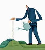 Businessman sowing and watering seeds, illustration
