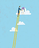 Businesswoman putting file in cloud, illustration
