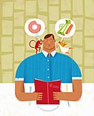 Man choosing healthy or unhealthy food, illustration