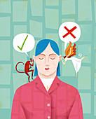 Woman making decision, illustration