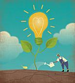 Farmer watering light bulb plant, illustration