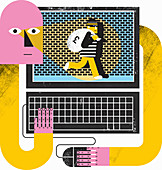 Anxious man with arms around laptop, illustration