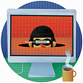 Password typed over masked face of thief, illustration