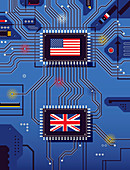 American and British flags on circuit board, illustration