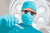 Surgeon with binocular magnifiers, illustration
