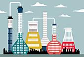 Buildings shaped like laboratory flasks, illustration