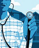 Man holding stethoscope, illustration