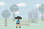 Depressed man sitting under black cloud, illustration