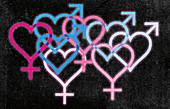 Overlapping blue and pink gender symbol hearts, illustration