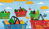 Parachutes carrying shopping baskets, illustration