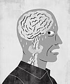 Terrified man having panic attack, illustration