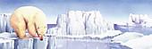 Polar bear on the edge of iceberg, illustration