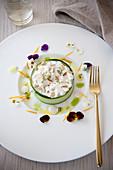 Stracciatella zucchini tartare with pine nuts