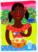 Teenage girl eating lunch near jungle in India, illustration