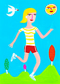 Woman running on sunny day, illustration