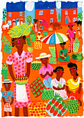 Traditional outdoor food market, illustration