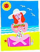 Woman on beach eating sandwich, illustration