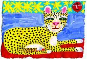 Happy leopard relaxing in sun illustration
