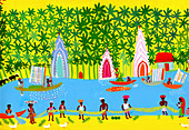 Village life in Kerala, India, illustration