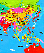 Map of Asia with Asian culture and wildlife, illustration