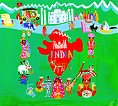 Map of India with Indian people and culture, illustration