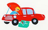 Mechanic repairing car, illustration