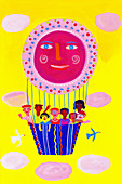 Happy children in smiling hot air balloon, illustration